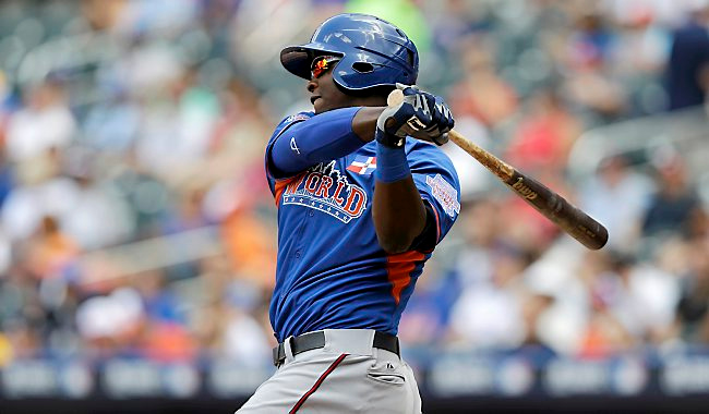 """. <p>7. (tie) MIGUEL SANO <p>Prospect says he might hit 55 homers. In other news, Twins might hit 55 homers. (unranked) <p><b><a href=\'http://espn.go.com/mlb/story/_/id/10354401/miguel-sano-minnesota-twins-prospect-says-hit-45-55-home-runs\' target=\""""_blank\""""> HUH?</a></b> <p>    (AP Photo/Kathy Willens)"""