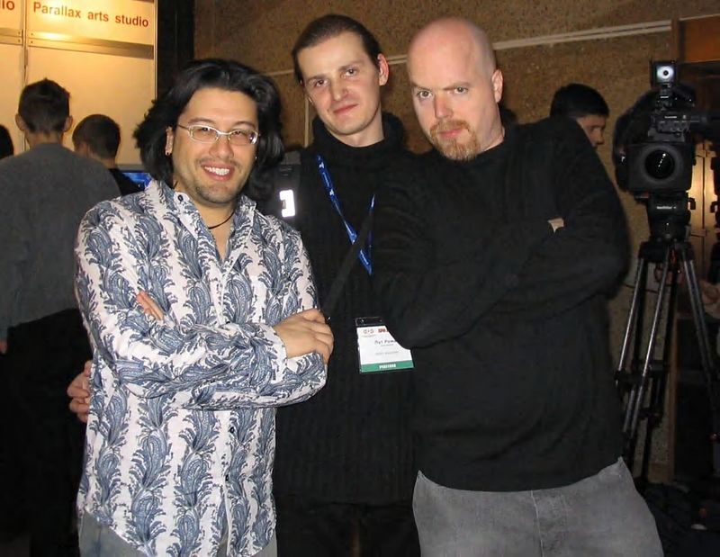 This is a picture from March 2004 in Moscow, Russia.  Tom and I are at the 2nd annual KRI Conference, Russia's version of GDC.  It was a really great time!
