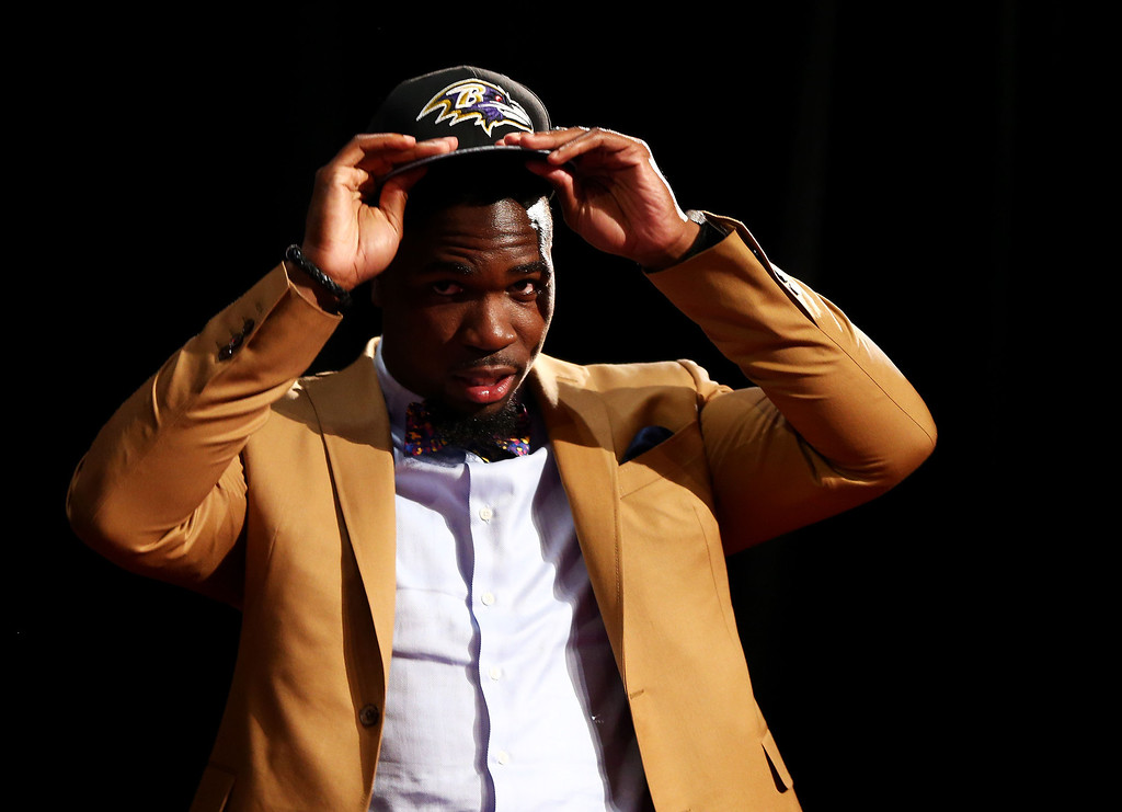 . C.J. Mosley of the Alabama Crimson Tide takes the stage after he was picked #17 overall by the Baltimore Ravens during the first round of the 2014 NFL Draft at Radio City Music Hall on May 8, 2014 in New York City.  (Photo by Elsa/Getty Images)