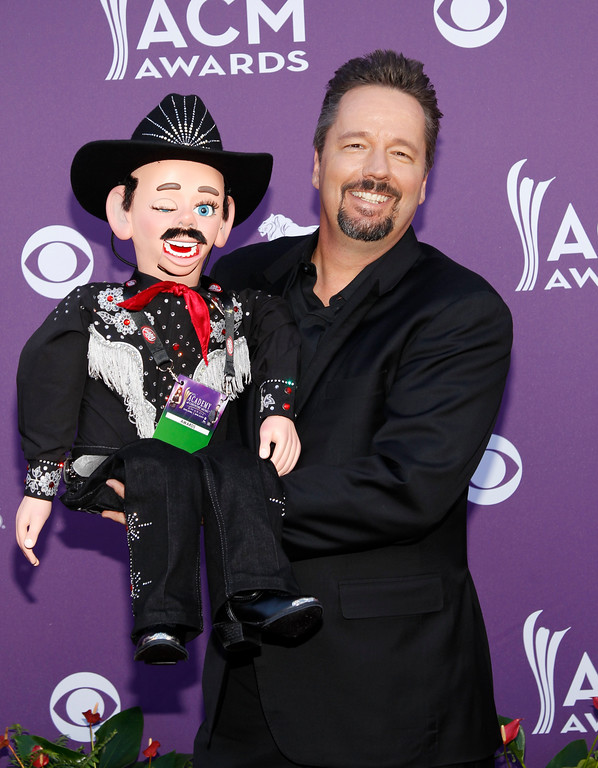 . Terry Fator arrives at the 47th Annual Academy of Country Music Awards on Sunday, April 1, 2012 in Las Vegas. Fator will perform April 20 at the Hard Rock Rocksino at Northfield Park. For more information, visit hrrocksinonorthfieldpark.com. (AP Photo/Isaac Brekken)