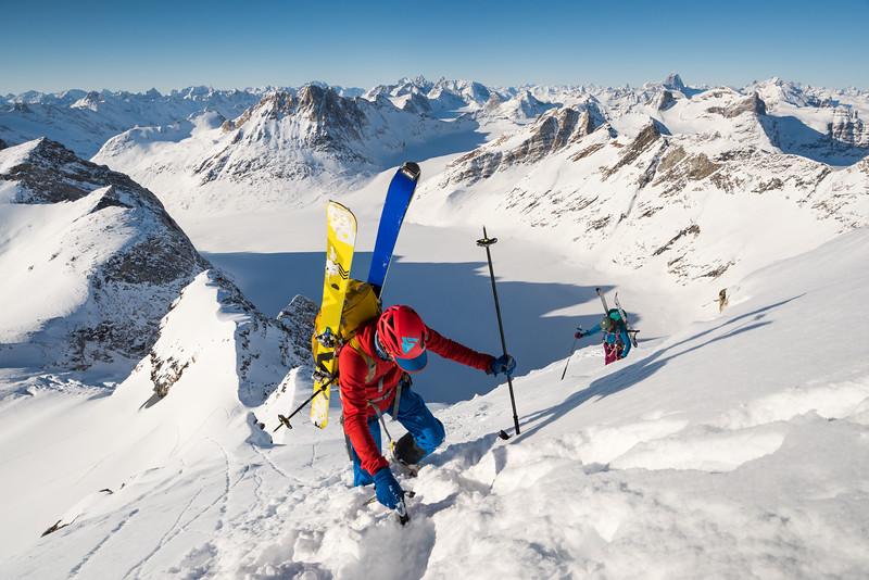 Misha Gopaul climbing a new line, East Greenland
