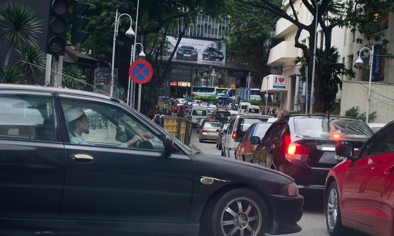 Squeezing into a traffic jam, Bukit Bintang area