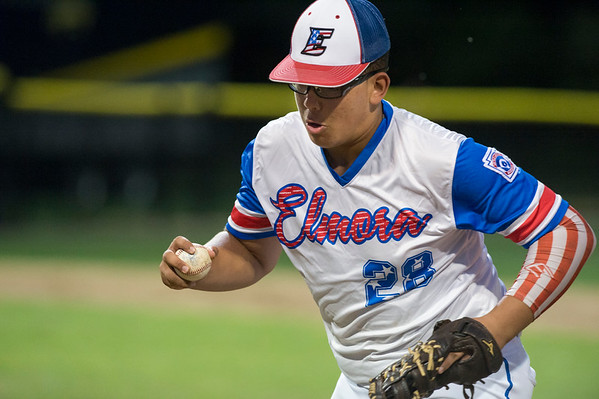 08/09/19 Wesley Bunnell | Staff New Jersey defeated Washington, DC on Friday August 9, 2019 in a Little League Baseball Eastern Regional Tournament game with New Jersey heading to the final on Saturday to face New York. New Jersey's Yady Mateo (28) with the unassisted out at first.