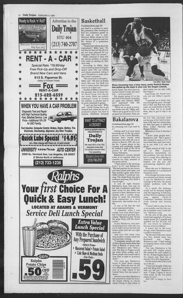 Daily Trojan, Vol. 130, No. 17, February 04, 1997