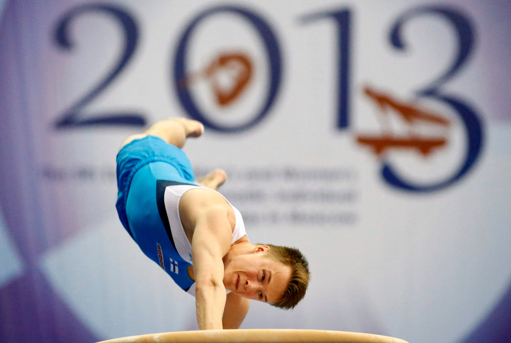 . Finland\'s Petrus Laulumaa competes on the vault during the men\'s apparatus finals at the European Men\'s and Women\'s Artistic Gymnastic individual Championships in Moscow April 21, 2013.  REUTERS/Grigory Dukor