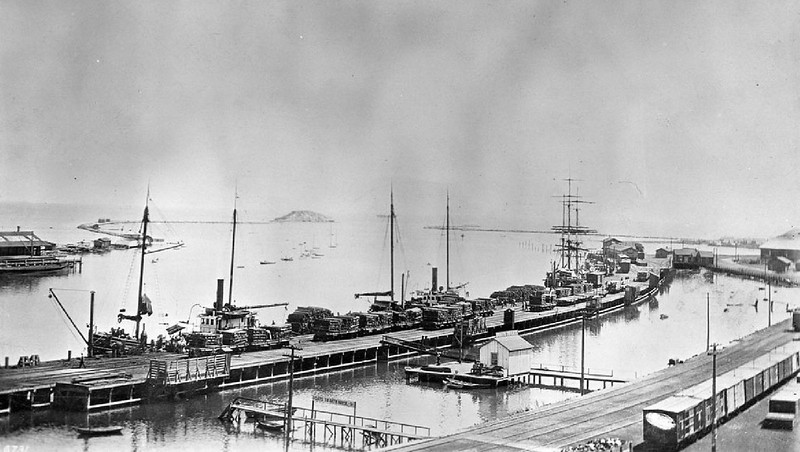 Panoramic view of the San Pedro Harbor looking west, Los Angeles, 1900