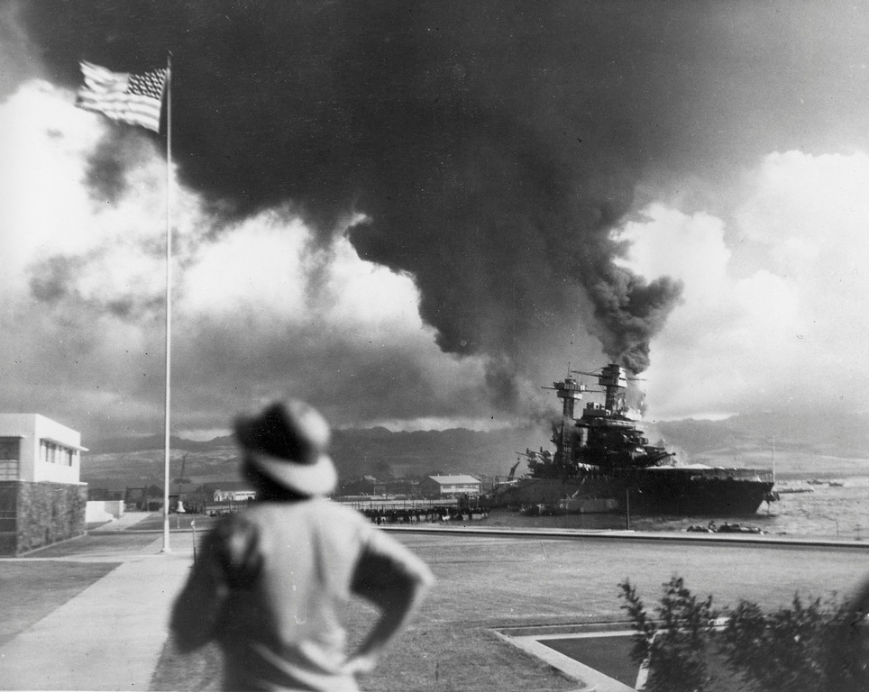 . American ships burn during the Japanese attack on Pearl Harbor, Hawaii, on Dec. 7, 1942.  (AP Photo)
