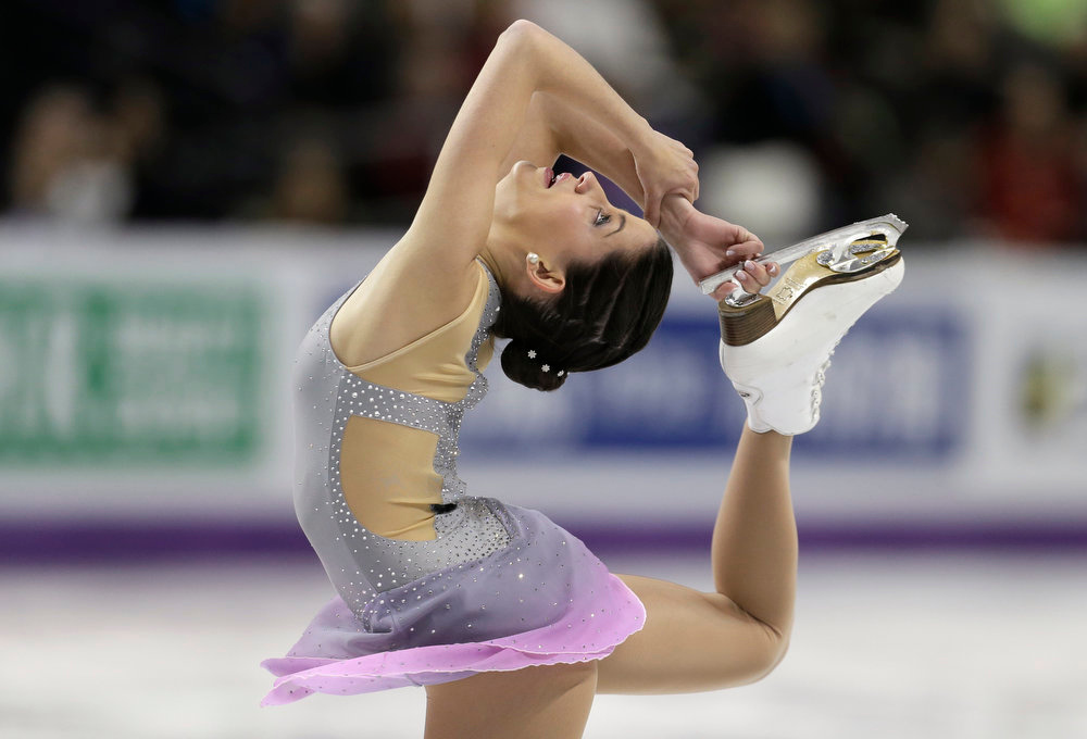 . Sonia Lafuente of Spain performs during the ladies short program at the World Figure Skating Championships Thursday, March 14, 2013, in London, Ontario. (AP Photo/Darron Cummings)