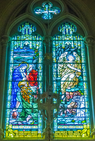 West proch - Three Marys and Angel at Christ's empty tomb <br> glass by McCausland, Toronto
