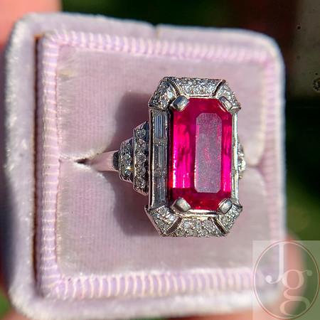 Art Deco Burmese No-Heat Ruby and Diamond Ring