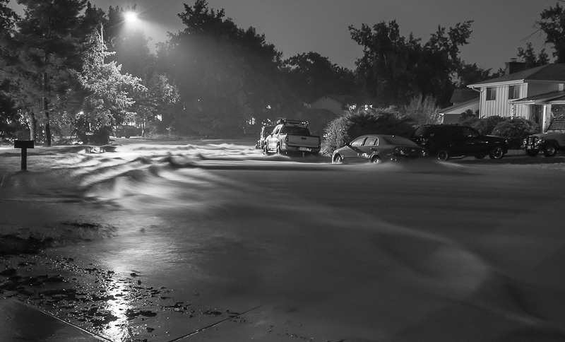 . Osage Drive in South Boulder turned into a raging torrent last night. Photo by Alex Bamberger