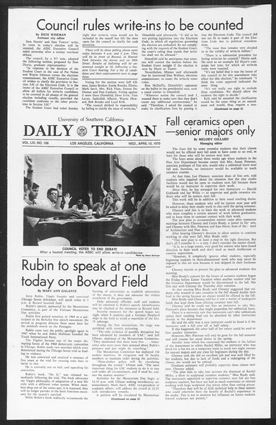 Daily Trojan, Vol. 61, No. 106, April 15, 1970