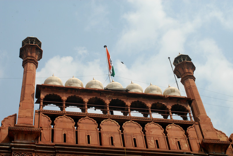 Red Fort entrance with India's flag in the center.