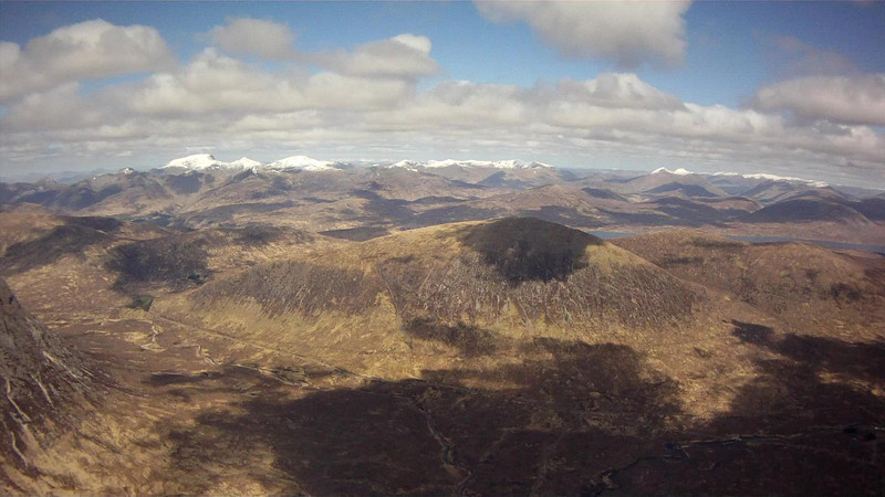 Looking towards Ben Nevis, snow capped in far distance.