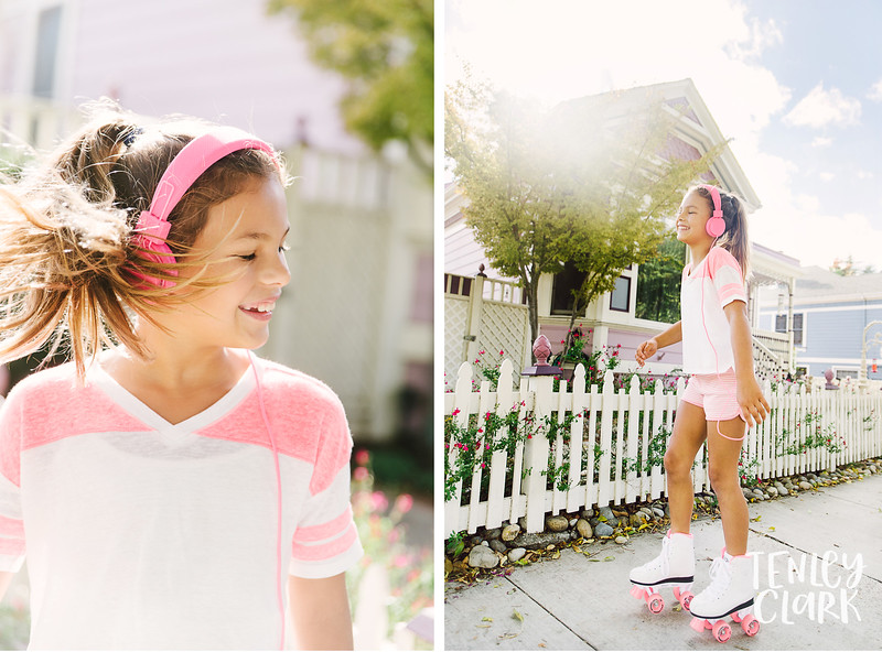 Teen lifestyle shoot with cute pink roller skates by Tenley Clark Photography