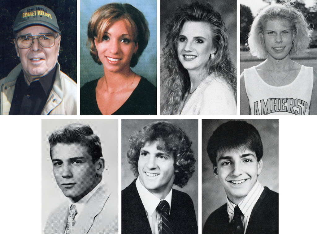 . The inaugural class of the Amherst Athletic Hall of Fame includes, top row, from left: Richard S. Cooley, Theresa (Feldkamp) Brannen, Sheri (Horvath) Scanlon and Amy (McKinley) Agrella; and bottom row, from left: Jack Moskal, Phil Parker, Chris Russo. Not pictured is the 1962 boys cross country team.