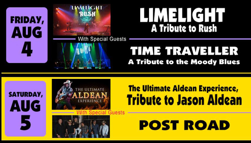 . This weekend at Rockin\' on the River at Black River Landing in Lorain: Limelight (A Tribute to Rush) with Time Traveller (A Tribute to the Moody Blues) on Aug. 4; and The Ulitmate Aldean Experience (Tribute to Jason Aldean) with Post Road on Aug. 5. The events start at 5:30 p.m., and music goes until 11 p.m. For more information, visit rockinontheriver.com.