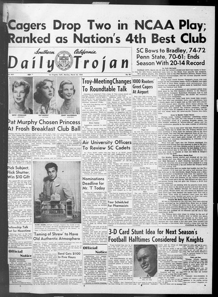 Daily Trojan, Vol. 45, No. 98, March 22, 1954