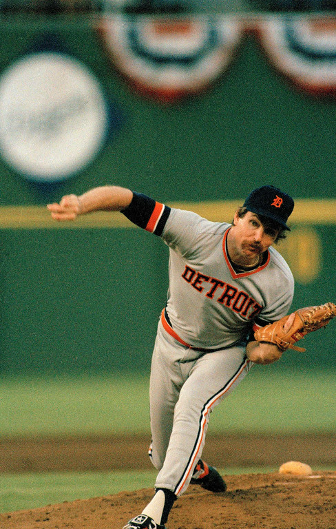 . Detroit Tigers pitcher Jack Morris delivers against the San Diego Padres in Game 1 of the 1984 World Series at Jack Murphy Stadium in San Diego, Oct. 9, 1984. The Tigers won 3-2. (AP Photo)