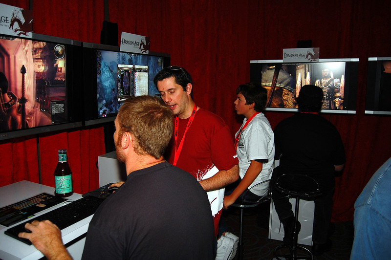 Dev team wandering through the booth answering questions, giving tips, etc