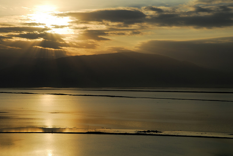 Sunrise over the Dead Sea, Israel.  The mountains on the far side are in Jordan.