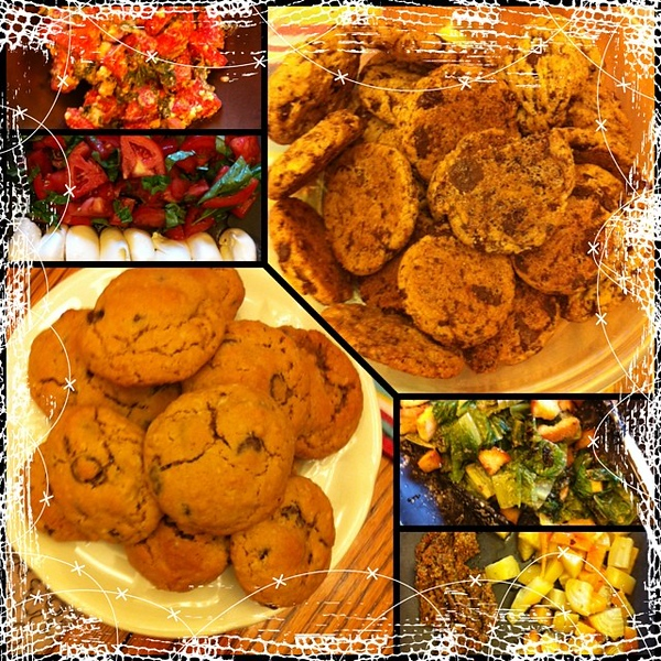 On the table tonite: caprese; grilled Caesar; beets; watermelon salads. Chocolate chip cookies. #jux #food #foodie