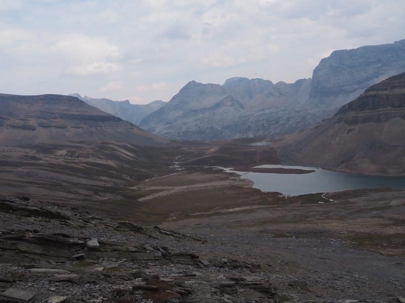 Lake Katherine and the saddle of Dolomite Pass.