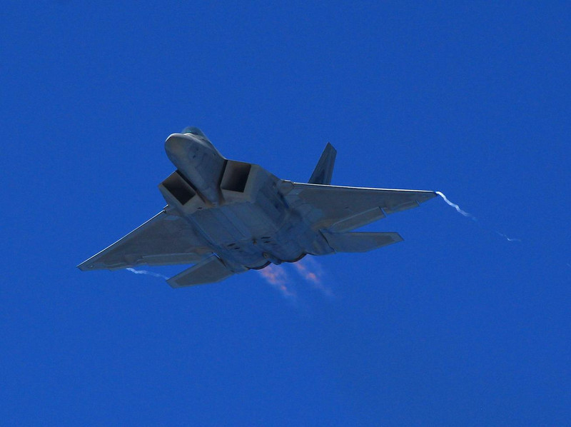 The F-22 is so powerful it became the first fighter to maintain continuous supersonic speeds fully loaded without the use of afterburners. Airshow weight is far less than its 70,000 lbs. of thrust, allowing it to stand on its tail and hover. In simulated dogfights with the best U.S. fighters it amassed a ridculous kill ratio (100 to 1) due in part to thrust-vectoring which allows unprecedented turning control. Also, it's stealth is so good that some fighters cannot get missile lock on it even in visual range!