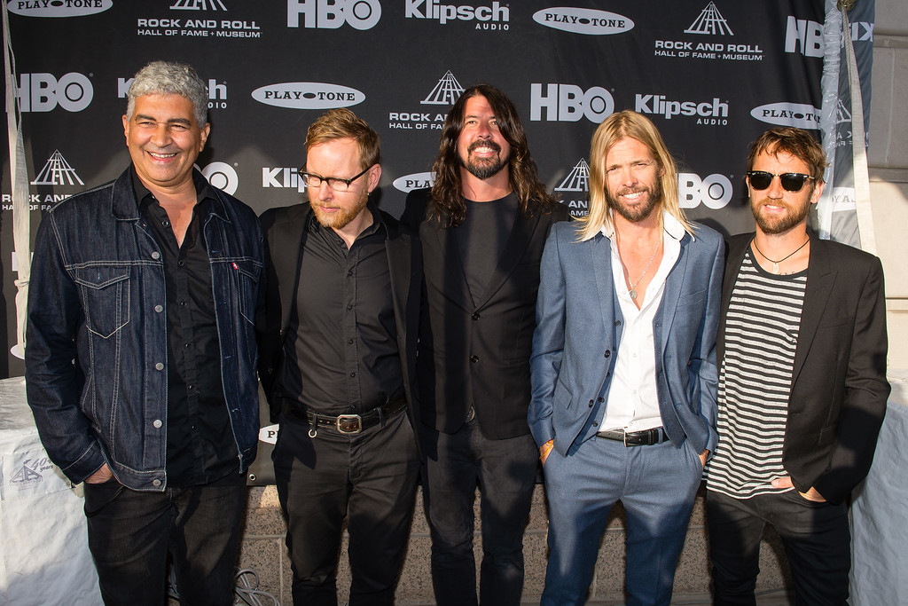 . The band Foo Fighters on the red carpet prior to the 2015 Rock And Roll Hall Of Fame Induction Ceremony at Public Hall on Saturday, April 18, 2015, in Cleveland, Ohio. (Photo by Jason Miller/Invision/AP)