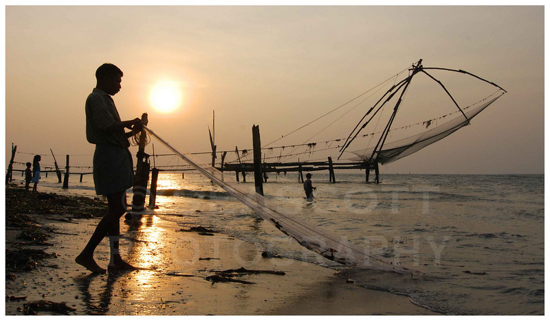 Net fishing on the Arabian Sea.   Malabar Coast, southern India.