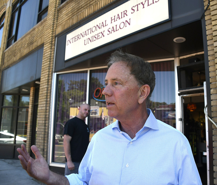 7/7/2018 Mike Orazzi   Staff Democratic Governor candidate Ned Lamont, during a walking tour of Broad Street in New Britain Saturday.