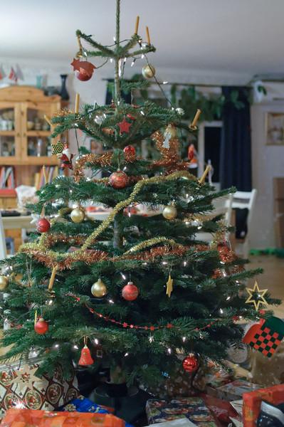 Unser Baum ist dieses Jahr etwas kleiner geraten. Aber kerzengerade!