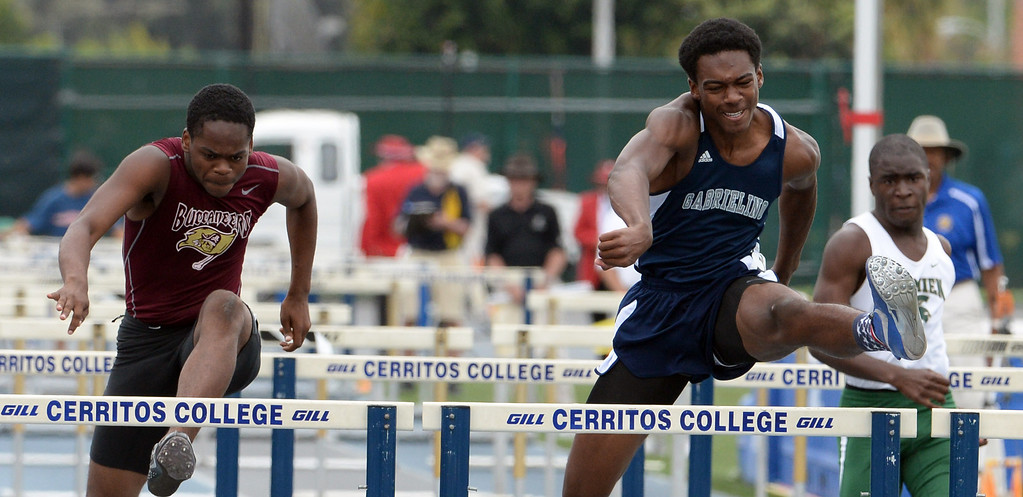 . Gabrielino\'s Gary Hawkins competes in the division 3 110 meter high hurdles during the CIF Southern Section track and final Championships at Cerritos College in Norwalk, Calif., Saturday, May 24, 2014.   (Keith Birmingham/Pasadena Star-News)
