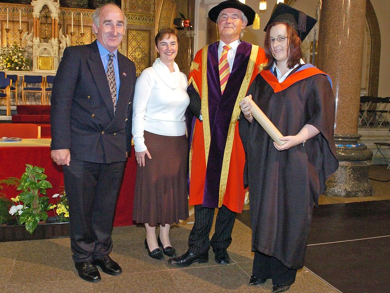 Provision 251006 Redmond and Blathnaid Walsh, Prof. Kieran Byrne (Director WIT) and Siobhan Walsh from Ballycotton in Cork who graduated with a HC in Legal Studies from WIT on Wednesday 25th October. PIC Bernie Keating/Provision