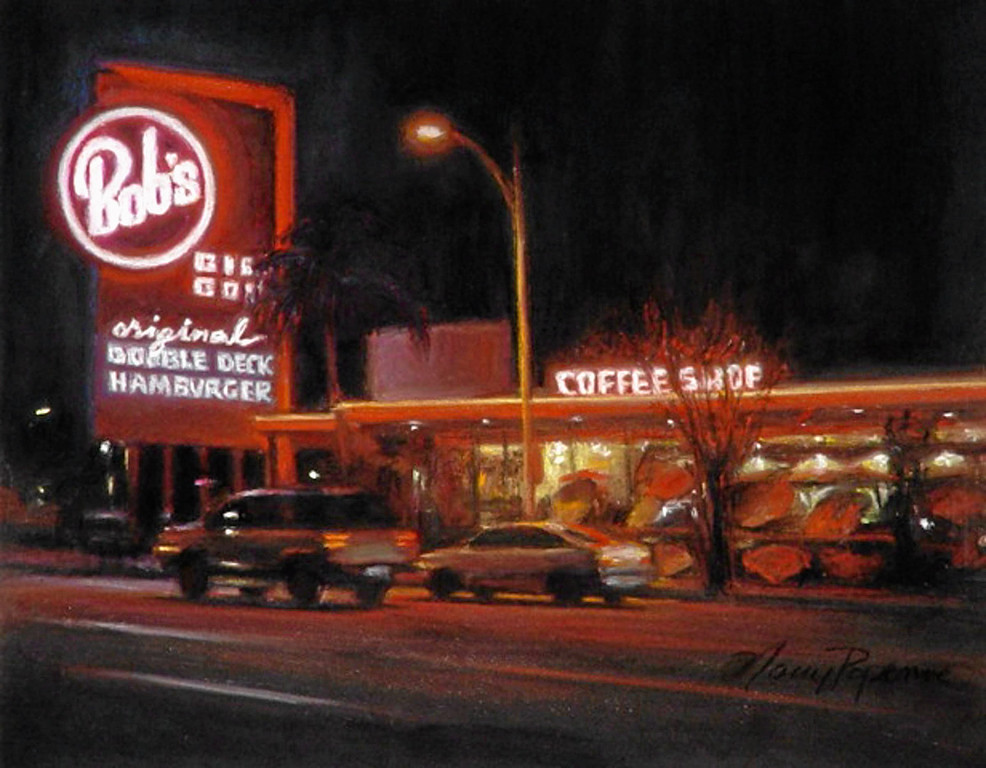 """. \""""Bobs\""""  by Los Angeles pastel artist Nancy Popenoe.  Popenoe gets her inspiration from the streets and night scenes around her Los Angeles neighborhood.  Photo by David Crane/Los Angeles Daily News"""