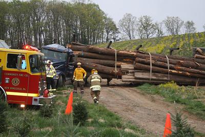 Logging Truck Flips, Driver Trapped, Fir Lane, New Ringgold, East Brunswick (4-26-2012)