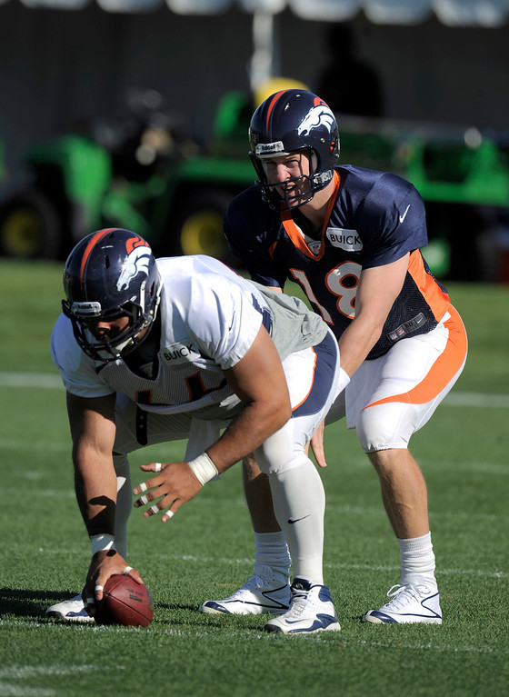 . Denver Broncos QB Peyton Manning (18) takes a snap from Manny Ramirez   (66) during training camp August 13, 2013 at Dove Valley. (Photo By John Leyba/The Denver Post)