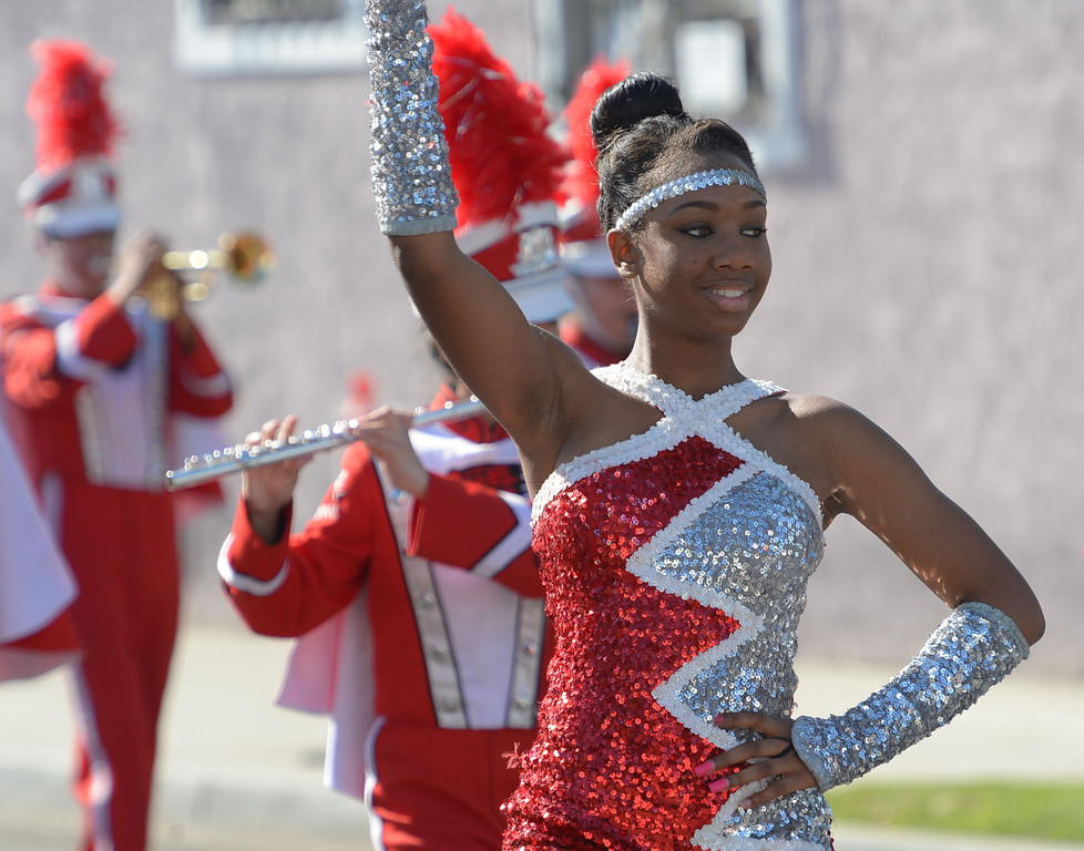 . The 26th Annual Martin Luther King, Jr., Peace & Unity Parade Saturday, January 18, 2014, Long Beach, CA.   The Centennial High band and drill team marches. Photo by Steve McCrank/Daily Breeze