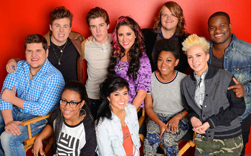 """. The \""""American Idol\"""" season 13 top 10 are (by alphabetic order) C.J. Harris, Jena Irene, Caleb Johnson, Jessica Meuse, MK Nobilette, Alex Preston, Dexter Roberts, Majesty Rose, Malaya Watson, and Sam Woolf. Woolf is at the back in this photo, second from left, Malaya Watson is kneeling at left front and Jena Irene is beside her. Photo courtesy of Fox Broadcasting"""