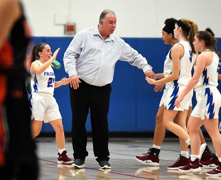 1/11/2019 Mike Orazzi | Staff St. Paul Girls Basketball Coach Joe Mone Friday night in Bristol.