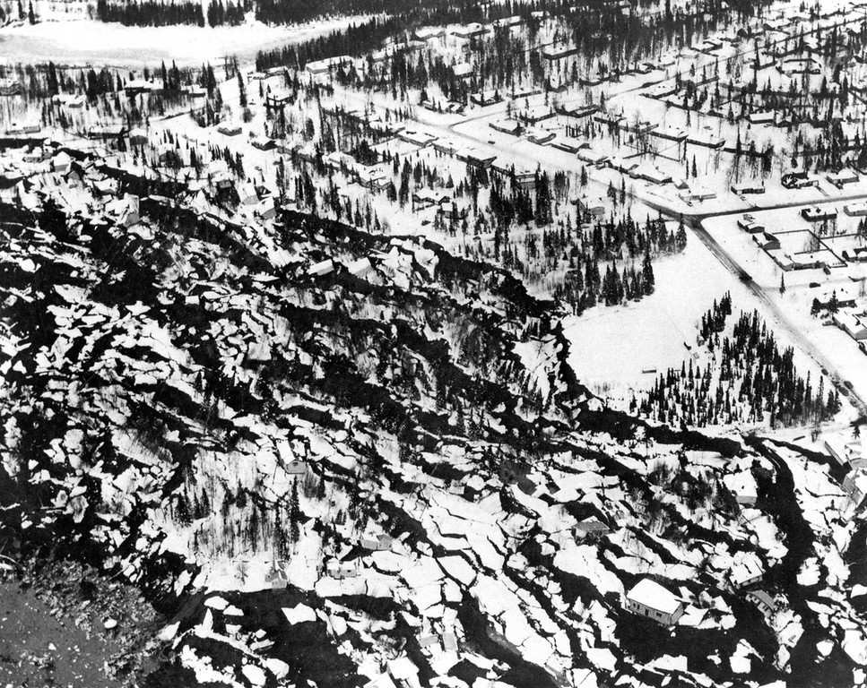 . Alaska Earthquake March 27, 1964. Part of the Turnagain Heights landslide in Anchorage shortly after the earthquake. Photo by W.R. Hansen, Frontispiece, U.S. Geological Survey