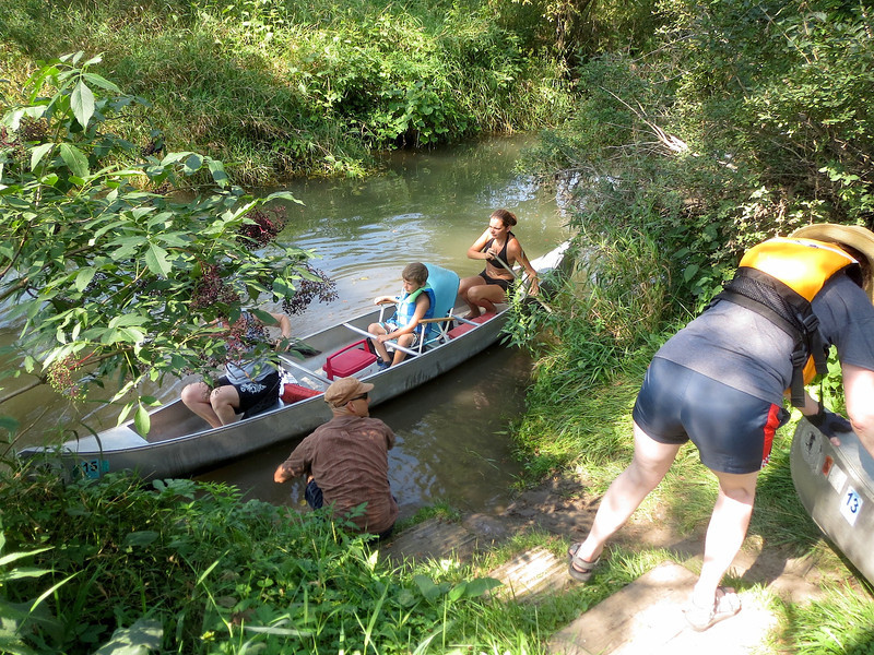 All 20 canoes were launched from this one site, one at a time with Steve's help.