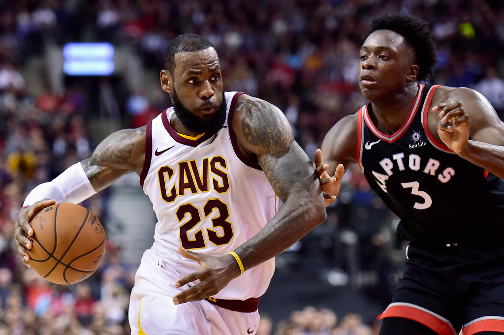 . Cleveland Cavaliers forward LeBron James (23) drives to the basket against Toronto Raptors forward OG Anunoby (3) during the second half of an NBA basketball game Thursday, Jan. 11, 2018, in Toronto. (Frank Gunn/The Canadian Press via AP)