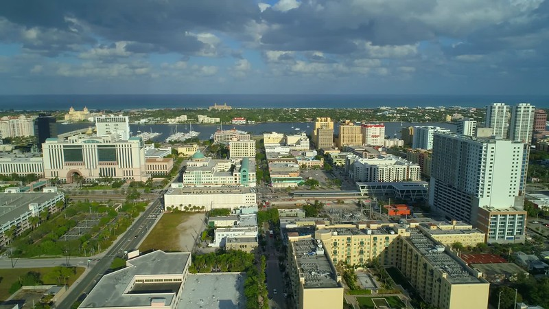 Lateral aerial West Palm Beach footage