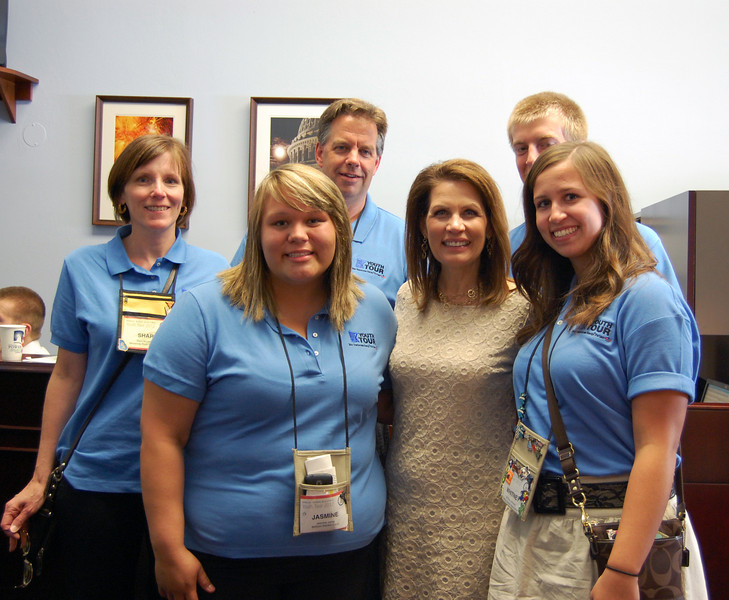 Shari, Cabot, Ian, Jasmine and Whitney with Michelle Bachmann