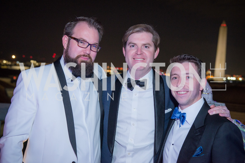 Adam Perry, Kyle Henderson, Alex Stahl, Capitol Seniors Housing, 15th Anniversary Party.  November 8, 2018. Photo by Ben Droz.