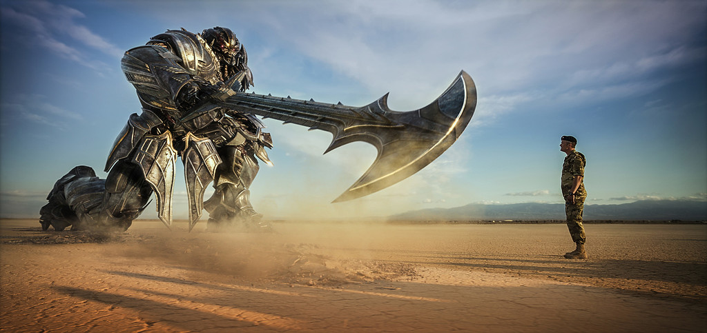 ". Megatron and Josh Duhamel as Lennox are shown in ""Transformers: The Last Knight,\"" which was released on June 21. (Paramount Pictures/Bay Films via AP)"