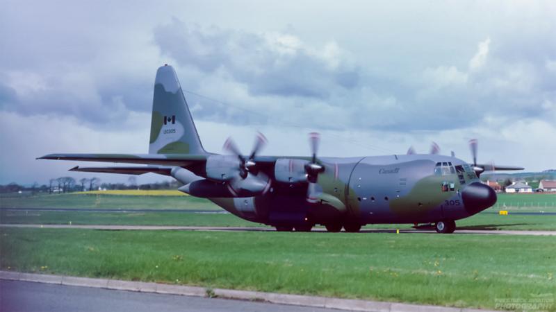 130305. Lockheed CC-130E Hercules. Canadian Air Force. Prestwick. May. 1987.