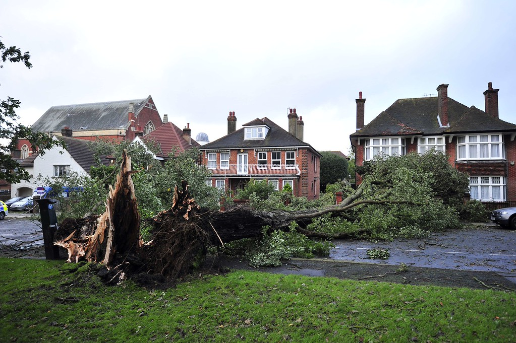 . A fallen tree blocks a road due to the overnight storm in Brighton, southern England on October 28, 2013.  AFP PHOTO/GLYN  KIRK/AFP/Getty Images