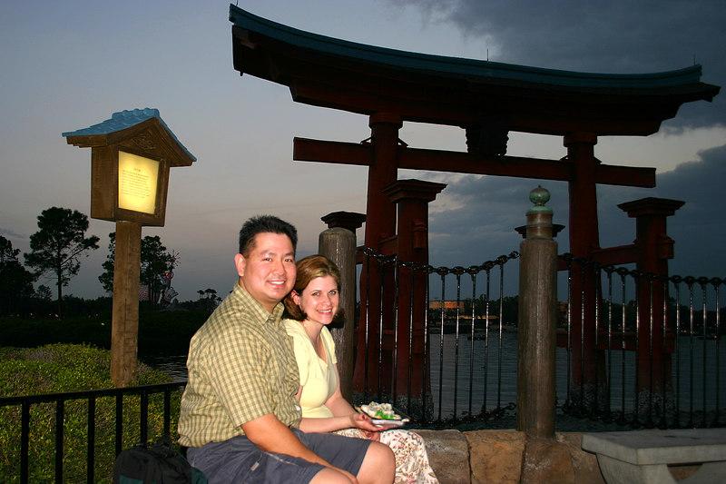Outside the Japanese pavillion in EPCOT, Disney World.